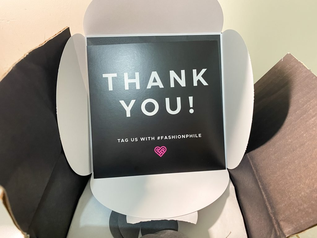 Fashionphile (preloved website) Packaging - thank you card