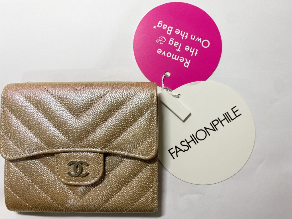 Chanel Chevron Light Gold - preloved Fashionphile tag