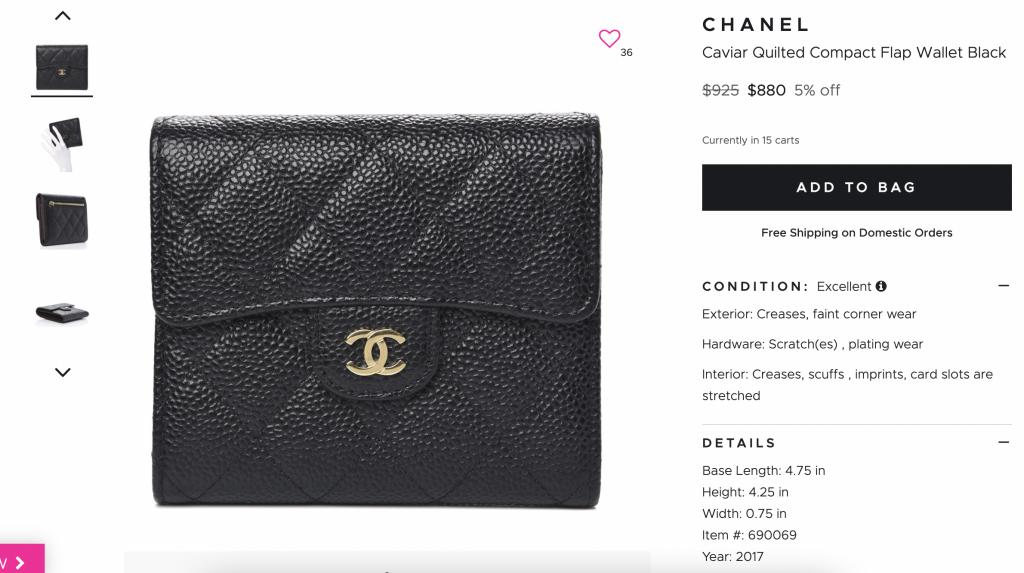 Fashionphile (preloved website) - Chanel wallet screenshot