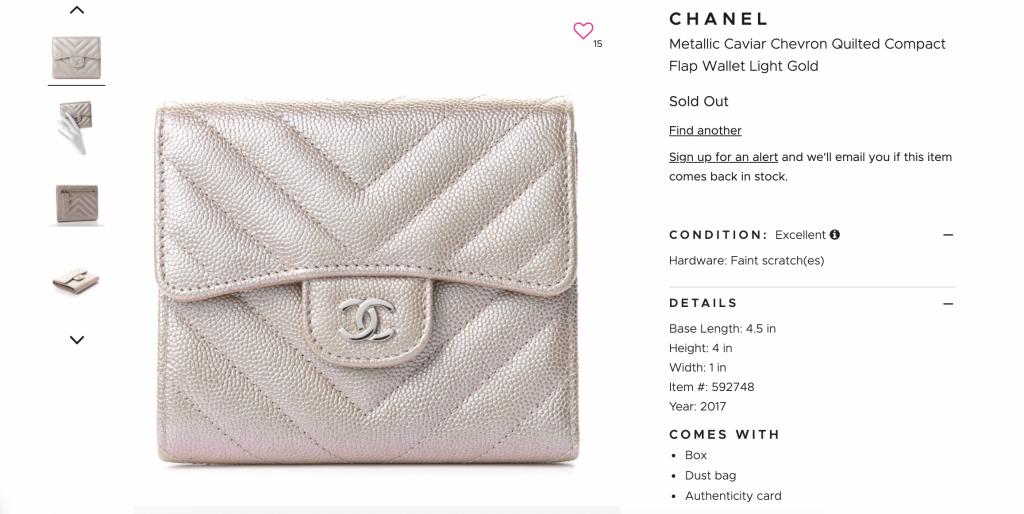 FashionPhile - Rose Gold Chanel Metallic Wallet