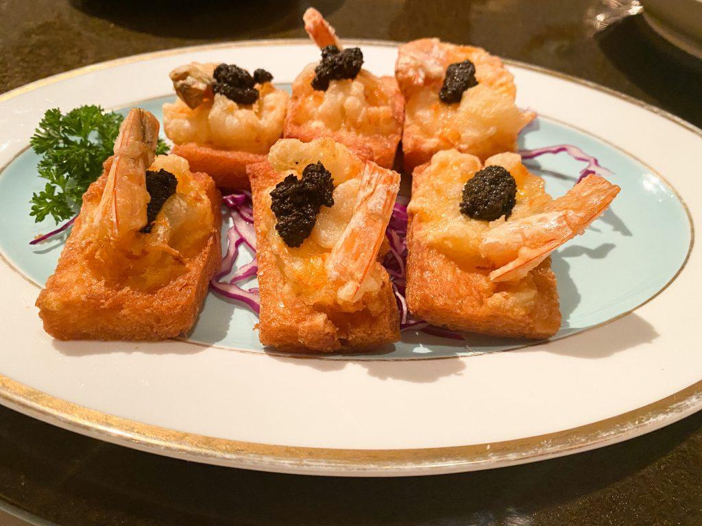 Fried Shrimp Toast with Truffle Pesto - Dim Sum Fusion